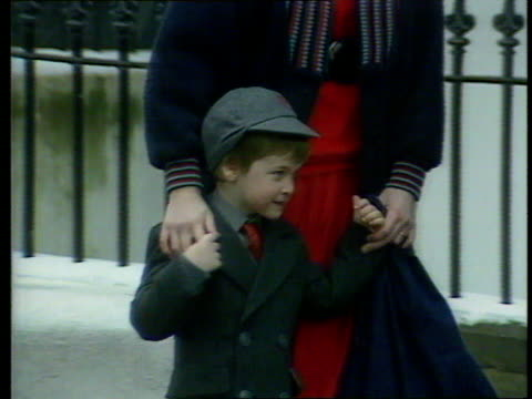 Princes Collection 3 TX William's first day at Wetherby School London Prince William in school uniform William turns to wave to press as enters school