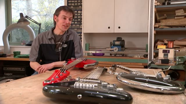 prince's final guitar made in sussex; england: east sussex: int simon farmer interview sot/ various of luthier simon farmer making electric guitar in... - craftsperson stock videos & royalty-free footage