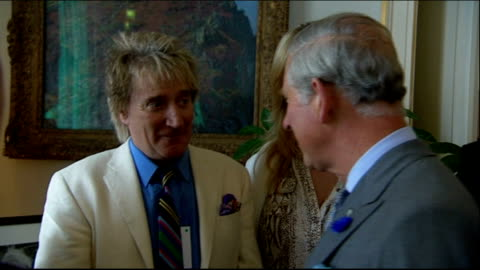 prince's trust 35th anniversary: prince charles hosts reception at clarence house; various of prince charles meeting rod stewart, penny lancaster,... - rod stewart stock-videos und b-roll-filmmaterial