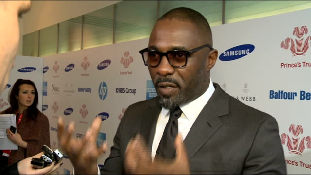 Prince's Trust Celebrate Success Awards 2013 Arrivals Actor Idris Elba arriving Idris Elba interview and speaking to other media SOT Elba and fellow...