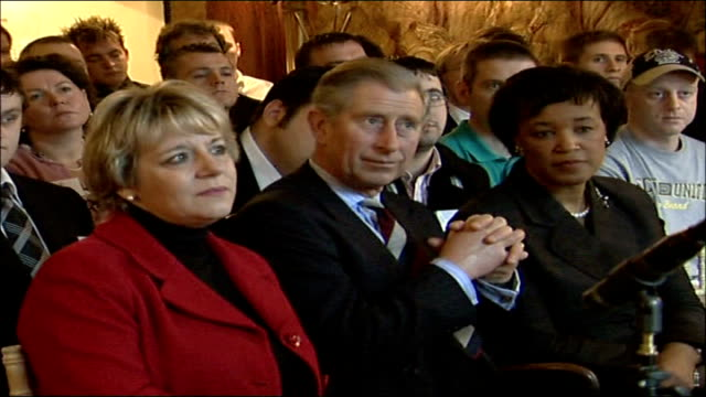 prince charles speech at seminar with young offenders; lord goldsmith listening; general view audience listening to young ex-offender ; general views... - プリンスズトラスト点の映像素材/bロール