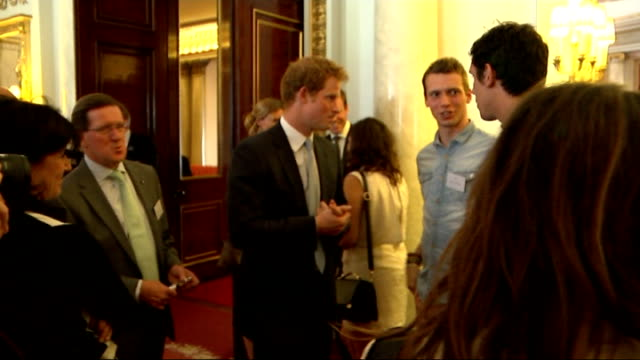princes william and harry launch the queen's young leaders programme at buckingham palace william and harry chatting after web chat and posing for... - photo call stock videos & royalty-free footage
