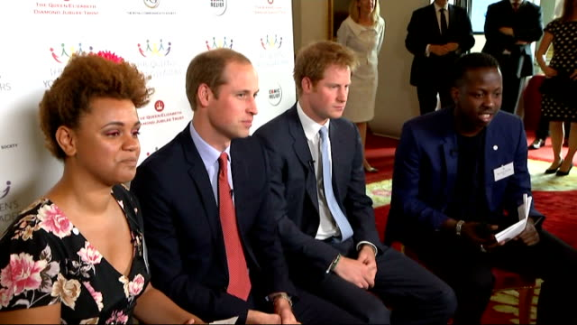 Princes William and Harry launch The Queen's Young Leaders Programme at Buckingham Palace William Harry Cairney and Edwards filming web chat