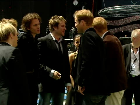 Princes William and Harry meet Duran Duran before the 2007 Live earth concert at Wembley Stadium