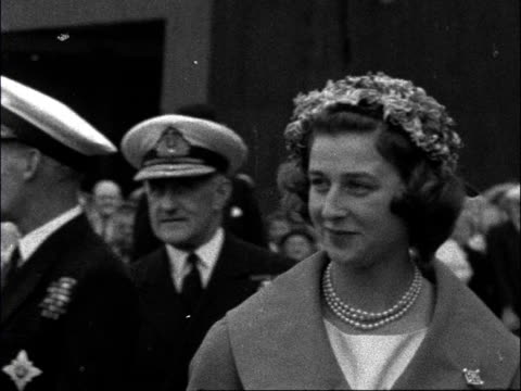 princess alexandra launches hms jaguar scotland dumbarton alexandra arrives in car waves to crowds / crowds held back / alexandra shakes hands with... - 1957 stock videos & royalty-free footage