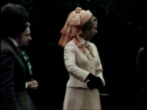 princess anne and mark phillips engagement; england: bucks: radnage: g/a helicopter l-r cms children cms princess anne out of copter greeted anne... - all horse riding stock videos & royalty-free footage