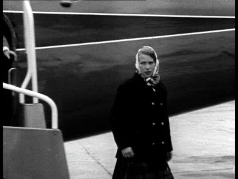 princess anne and prince charles step of plane at aberdeen airport 18 aug 67 - aberdeen scotland stock videos & royalty-free footage