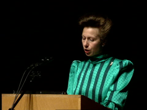 princess anne attends save the children 70th birthday events in london and liverpool london barbican princess anne princess royal speech sot about... - save the children stock videos & royalty-free footage