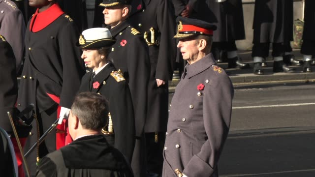 princess anne duke of kent at the national service of remembrance on november 10 2019 in london england - memorial stock videos & royalty-free footage