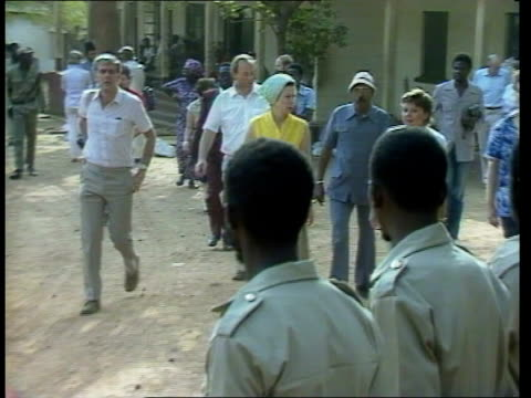 princess anne in africa day 5 visit to health centre **no commentary see as220284022 for reporter voiceover** upper volta basa ext villagers on... - day 5 stock videos and b-roll footage