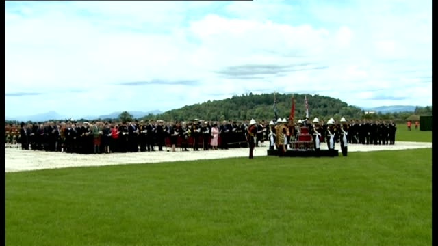Princess Anne marks Armed Forces Day in Stirling ****PLEASE Congregation singing hymn / Gun salute fired at Stirling Castle / End of service with...