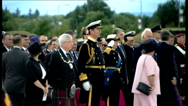 princess anne marks armed forces day in stirling national anthem played sot [princess anne saluting] - stirling stock videos and b-roll footage
