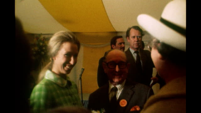 Princess Anne meets royal bodyguard from 1974 attempted kidnap incident 1970's INT Princess Anne and Mark Phillips greeting people at unidentified...