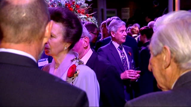 stockvideo's en b-roll-footage met princess anne meets royal bodyguard from 1974 attempted kidnap incident imperial war museum int princess anne talking to guests at awards event jim... - imperial war museum museum