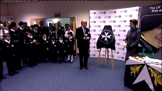 princess anne meets st john ambulance staff princess anne unveils small plaque / princess anne signature in visitor book princess anne out of... - plaques stock videos & royalty-free footage