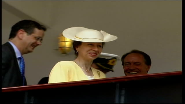 princess anne names new cruise ship 'hebridean spirit'; itn scotland: edinburgh: port of leith: ext cars along towards / princess anne, the princess... - passenger craft stock videos & royalty-free footage