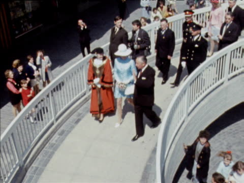 stockvideo's en b-roll-footage met princess anne opens shopping center in hartlepool includes royal arrival cutting of ribbon and unveiling of placard; 27 may 70 - county durham engeland