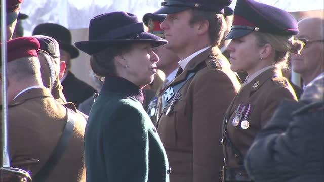 princess anne presents honours on december 04, 2012 in tidworth, wiltshire - tidworth stock videos & royalty-free footage