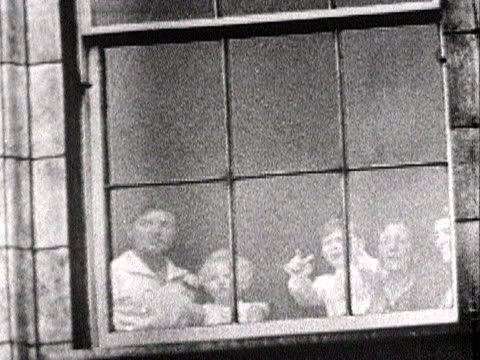 princess anne prince charles and their nannies look out from a window of buckingham palace at the coronation procession 1953 - nanny stock videos & royalty-free footage