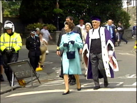 princess anne tour of channel islands: guernsey visit; channel islands: guernsey: st peter port: ext princess anne, princess royal , towards down... - guernsey stock videos & royalty-free footage