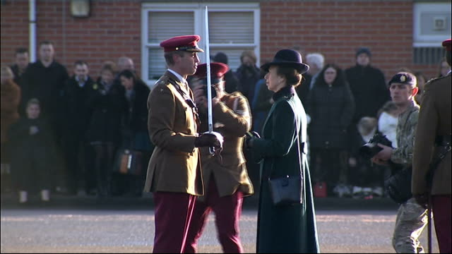 princess anne visit to aliwal barracks; england: wiltshire: tidworth: aliwal barracks: ext troops of the king's royal hussars lined up on parade... - tidworth stock videos & royalty-free footage