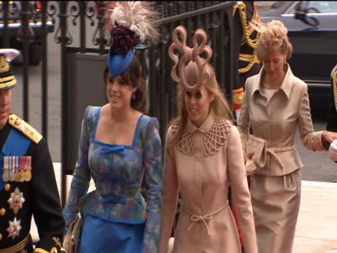 Princess Beatrice and Princess Eugenie arrive at Westminster Abbey for the Royal Wedding of Prince William and Catherine Middleton