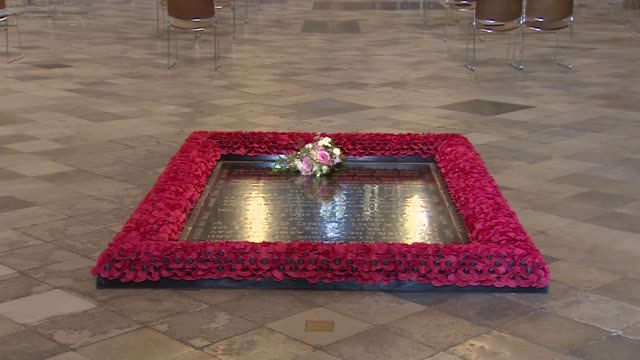 princess beatrice wedding bouquet laid on tomb of the unknown warrior in westminster abbey; england: london: westminster: westminster abbey: int... - tomb stock videos & royalty-free footage