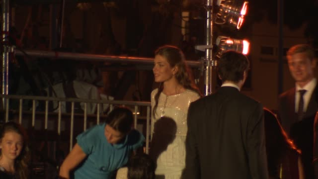 princess caroline and daughter princess charlotte of monaco at the monaco royal wedding jean michel jarre concert at monaco - monaco stock-videos und b-roll-filmmaterial