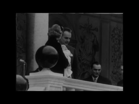 princess caroline makes her debut before the people of monaco monaco prince's palace ms ditto ms crowds waiting on streets with flags ms people... - grace kelly actress stock videos & royalty-free footage