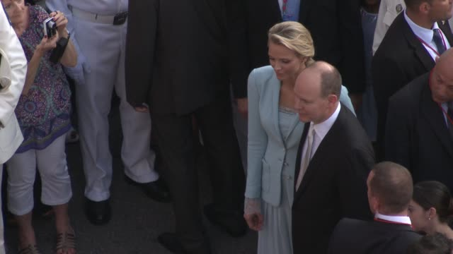 princess charlene and hsh prince albert ii of monaco at the monaco royal wedding first appearance of married couple at monaco - monaco royalty stock videos and b-roll footage