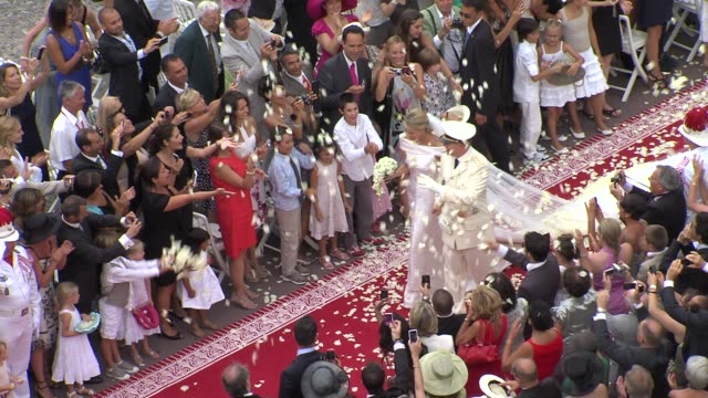 princess charlene and prince albert of monaco at the monaco royal wedding religious ceremony arrivals at monaco - monaco stock-videos und b-roll-filmmaterial