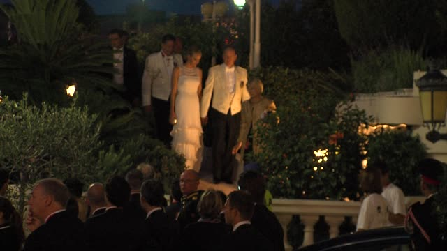 princess charlene and prince albert of monaco at the monaco royal wedding: reception arrivals at monaco . - celebrities video stock e b–roll