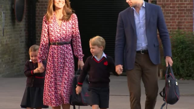 princess charlotte attends first day of school; england: london: wandsworth: thomas's battersea: ext prince william, duke of cambridge and catherine,... - prince stock videos & royalty-free footage