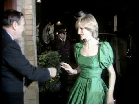 anorexia; princess di: anorexia; tx 9.11.82 eng england: london guildhall: princess of wales walks towards and greets dignitaries, walks away and... - mental illness stock videos & royalty-free footage