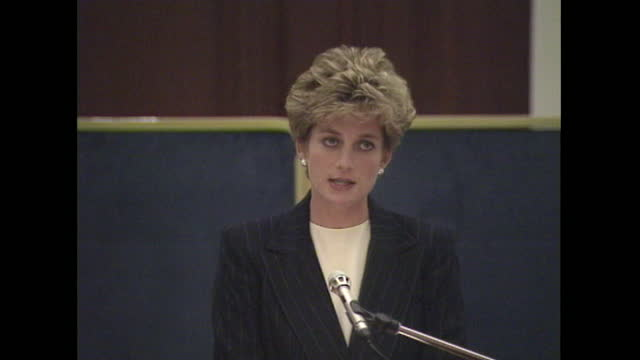 princess diana addresses aids conference in london, saying people need to learn to break through the barrier of inhibition in order to face the... - medium shot stock videos & royalty-free footage