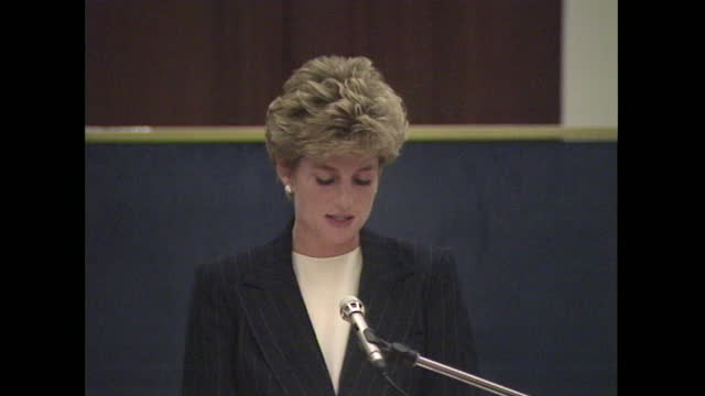 princess diana addressing and aids conference in london about aids/hiv sufferers and the obstacles they can face in the workplace. - problems stock videos & royalty-free footage
