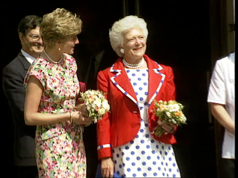 aids clinic/hospital visits nao england london middlesex hospital ms princess of wales standing beside barbara bush in as both chatting ms three... - sleeveless dress stock videos and b-roll footage
