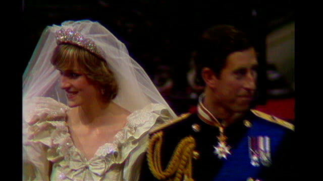 Princess Diana and Prince Charles along in St Pauls Cathedral on their wedding day