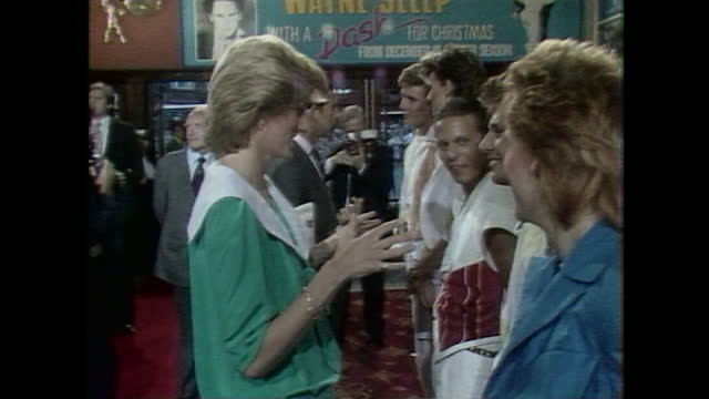princess diana and prince charles meet members of duran duran before attending a rock gala concert at dominion theatre in london. - people stock videos & royalty-free footage