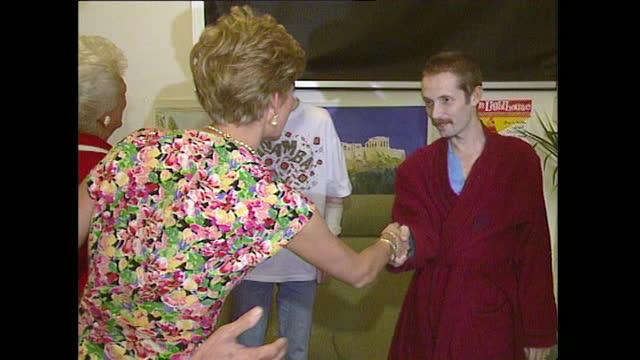 princess diana and us first lady barbara bush meet aids patients at a london hospital; july 1991. - medium shot stock videos & royalty-free footage