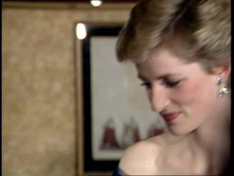 princess diana attends starlight gala; arrival at starlight cabaret at hilton for gala; talking to marti webb - gala stock videos & royalty-free footage