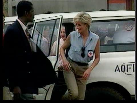 Princess Diana call for landmine ban ANGOLA Princess Diana out of car