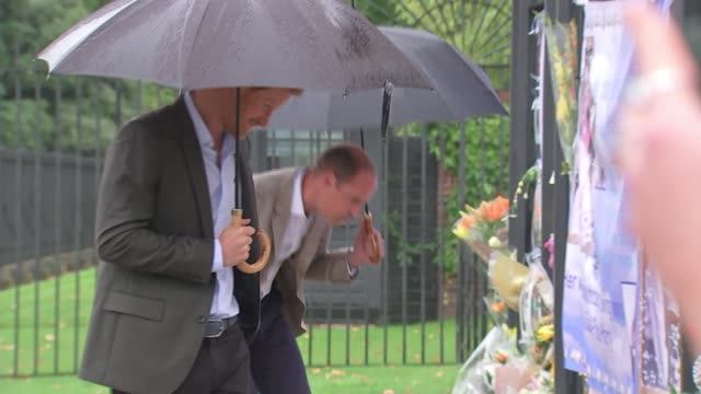 princess diana death 20th anniversary eve princes william and harry visit kensington palace memorial garden prince william and prince harry looking... - 20th anniversary stock videos & royalty-free footage
