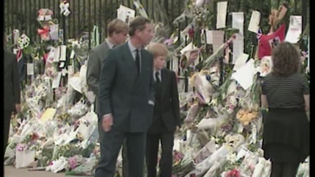 princess diana death 20th anniversary eve princes william and harry visit kensington palace memorial garden august 1997 various of a young prince... - kensington palace video stock e b–roll