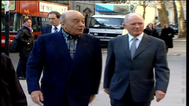 Al Fayed asked to back up murder claims ENGLAND London Royal Courts of Justice EXT Mohamed al Fayed arriving at court