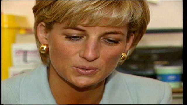 Inquest judge rules out jury chosen from Royal household INT Close up of Diana Princess of Wales smiling SLOW