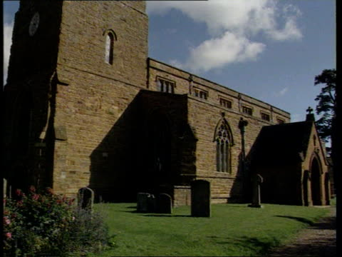 Princess Diana Death ITN Great Brington Various shots of the Church of St Mary the Virgin Earl Spencer and another walk along church path towards and...