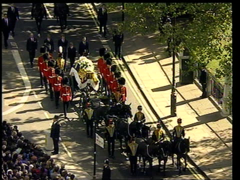 judge's report lib westminster tgv princess diana's funeral procession along to westminster abbey - funeral procession stock videos & royalty-free footage