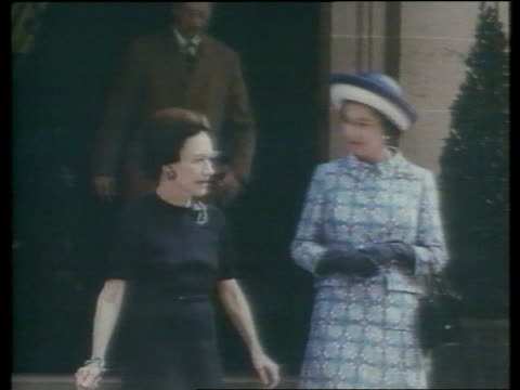 princess diana death lib 1972 paris bois de boulogne duchess of windsor and queen elizabeth ii towards out of doorway - 1972 stock videos & royalty-free footage