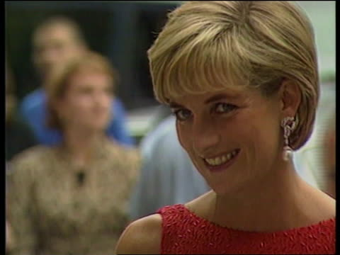 princess of wales: us reactions; princess diana death: princess of wales: us reactions; lib mat held washington ???: princess diana in red dress... - princess stock videos & royalty-free footage
